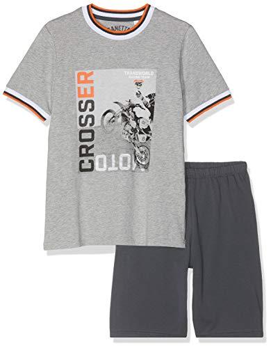 Sanetta Jungen Zweiteiliger Schlafanzug Pyjama Short Grau (Stone Mel. 1609) 140