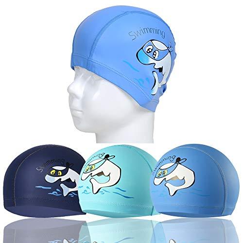 RETON wasserdichte Kinder Badekappe Atmungsaktive Ohr Wrap Schutz Kinder Schwimmen Hut mit PU Beschichtung Cartoon-Muster (Himmelblau+See Blau+Marineblau)