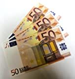 Geschenkartikel 10 Stück 'Euro-Ersatz-Schein 50' 125%, einseitig, Spielgeld - nach Wahl ( 10x 50 Euro)