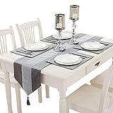 Hangnuo Chemin de Table et 8 Sets de Table avec Paillettes en Strass (Silver Gray)
