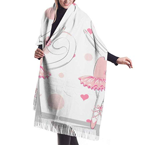Irener Wickeldecke Schal, Womens Winter Scarf Cashmere Feel Pair Cute White Ballerina Cats Pink Scarves Stylish Shawl Wraps Soft Warm Blanket Scarves For Women
