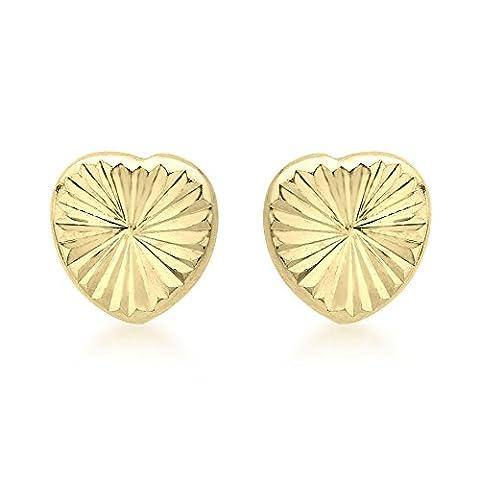 Carissima Gold 9 ct Or jaune avec Diamond Cut Heart Stud Earrings