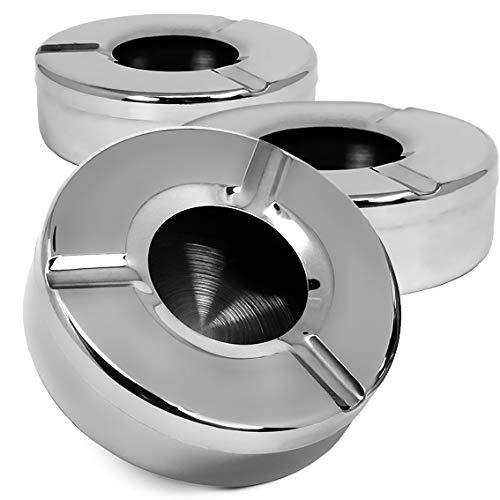 com-four® 3X Aschenbecher aus Edelstahl - Windaschenbecher mit abnehmbarem Deckel zum Schutz vor Flugasche - Ø 11 cm (003 Stück - Edelstahl)
