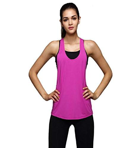 Damen Sport Tank Top, ZEZKT Quick Dry, Dehnbar und Atmungsaktiv, Ladies Loose Burnout Tanktop (L, Hot Pink)