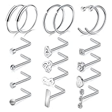 20G Surgical Steel Silver Nose Rings Clear CZ Nose C-shaped Rings Nose L-shaped Studs Body Piercing Jewelry 18 Pieces