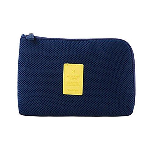Electronic Pocket Organizer (Shockproof Portable DIGITAL Storage Pocket TRAVEL Cosmetic Organizer Bag, Size: 12.5CM X 16CM X 3CM Dark Blue)