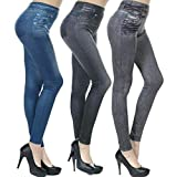 Islander Fashions 3 Assorted Slim Fit Caresse Jeggings Jeans Skinny Shapewear Abnehmen Body Shaper Packung mit 3 Assorted Klein/Mittel