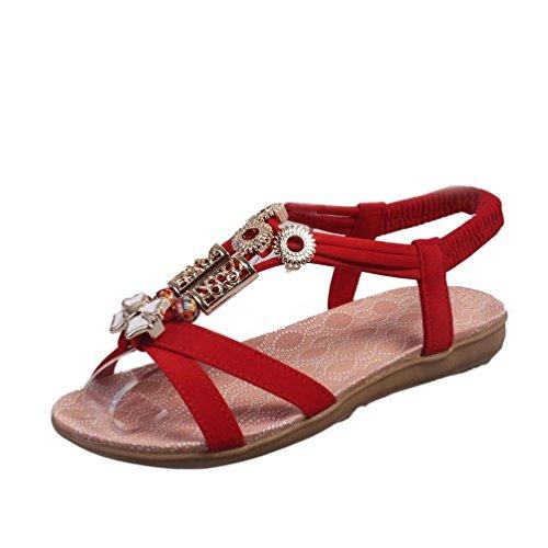 Hunpta Mode Frauen Boho Sandalen Leder Sandalen Damenschuhe Rot