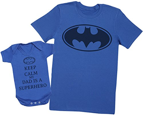 Keep Calm My Dad is A Hero - Passende Vater Baby Geschenkset - Herren T-Shirt & Baby Strampler/Baby Body - XL & 6-12 Monate