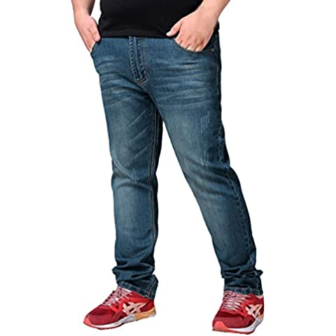 Menschwear Nuovo da uomo gamba corta Comfort Big King Size Stretch Jeans regolare Fit 30-46 Dark Wash