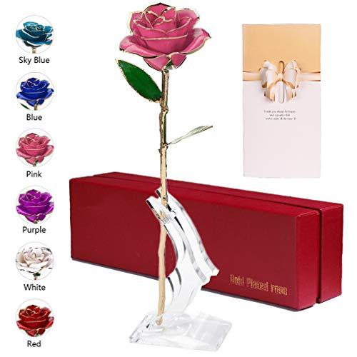 Rose Handgefertigt Konservierte Rose - mit Geschenkbox für Muttertag/Frau Freundin/Geburtstag/ Hochzeitstag/Jahrestag (Rosa Blume mit Stand) ()
