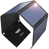 SUAOKI 28W Cargador Solar Portátil Plegable con 3 Puertos de USB de QC 3.0 Carga Rápida, conversión de energía de hasta 23%, resistente al agua IPX4 para Teléfono móvil (negro)