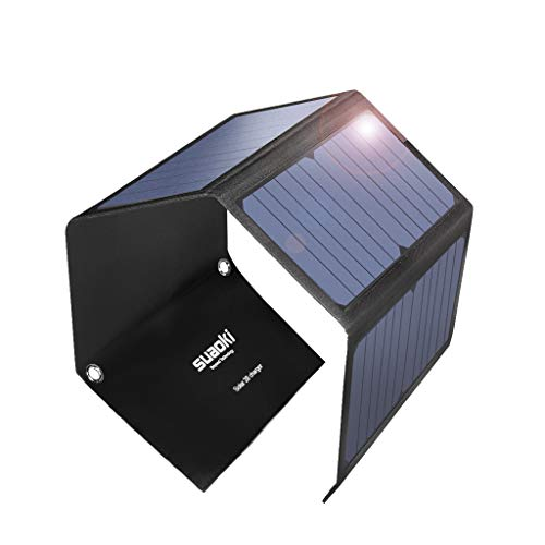 SUAOKI 28W tragbar Solar Ladegerät 3-Port USB mit QC 3.0 Schnellladung für iPhone, Samsung Galaxy, iPad Air/Mini, Kamera etc. Digitale Geräte(23% Sunpower) Usb Solar Panel