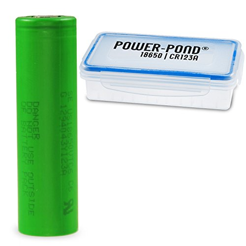 Power-Pond 1x Sony Konion VTC6 ICR 18650 US18650VTC6 3120 mAh, 30A, Flat staubdichter und wetterfester Akkubox (Auch für überlange 18650)