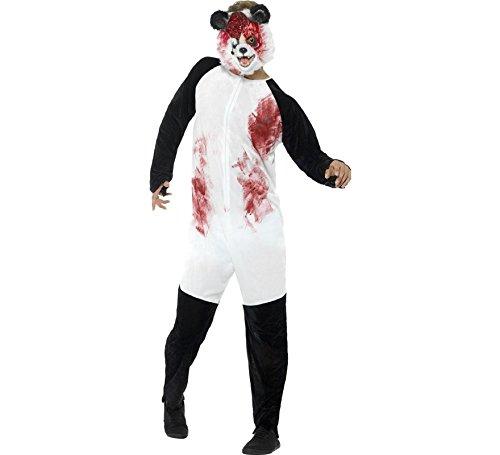 Panda Zombie Kostüm - Smiffys Unisex Deluxe Zombie Panda Kostüm, Bodysuit und Maske, Größe: L, 44465