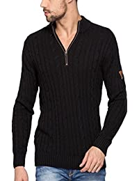 Spykar Mens Black Regular Fit Mid Rise Sweaters (X-Large)