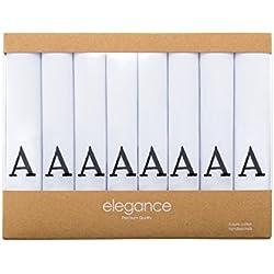 Retreez 8Herrentaschentücher aus reiner Baumwolle, mit Monogramm, Einstecktuch, Geschenk-Set Gr. Einheitsgröße, A Initial - White
