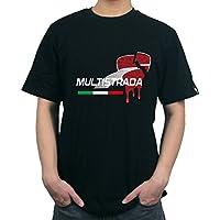 KODASKIN-EU Motorrad Baumwolle anpassbare Männer Casual T-shirt T-shirt Für Ducati MULTISTRADA 1200 (XXL, schwarz)