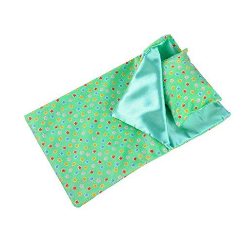 Magideal set di sacco pelo cuore disegno patch cuscino occhio accessori per americana bambole 18 pollici - verde, 37 x 23.5cm