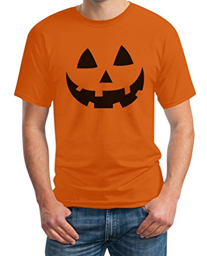 Gesicht Bestes Halloween Kostüm T-Shirt Medium Orange (Lustige Günstige Halloween-ideen)