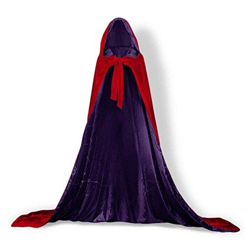 ShineGown Damen Warme Wraps Samt mit Kapuze Hochzeit Mantel Elegante Winter Lange Kap Erwachsene Unisex Halloween Kostüm Party Robe Rot