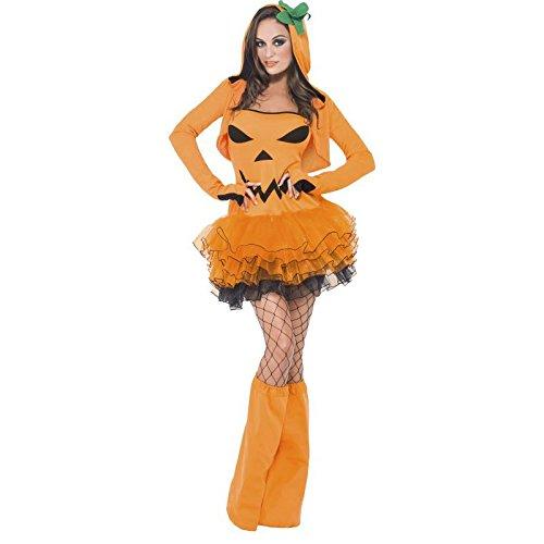 Fever, Damen Kürbis Kostüm, Tutu-Kleid mit abnehmbaren Trägern, Kapuzenjacke und Überstiefel, Größe: XS, (Kürbis Kostüme Sexy)