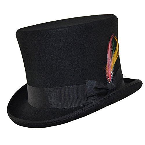 Wolle Filz Viktorianischer hoch Top Hat mit Feder Gr. 61 cm, (Top Hat Schwarzen Satin)