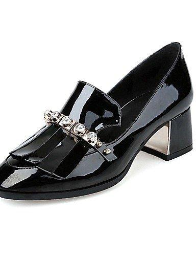WSS 2016 Chaussures Femme-Bureau & Travail / Décontracté-Noir / Rouge-Gros Talon-Talons / Bout Carré-Chaussures à Talons-Cuir red-us6 / eu36 / uk4 / cn36