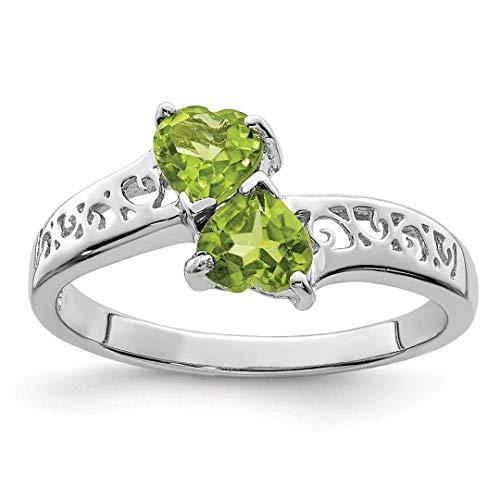 icecarats Anhänger 925Sterling Silber Peridot Grün Herz Ring (20-dollar-gold-zertifikat)