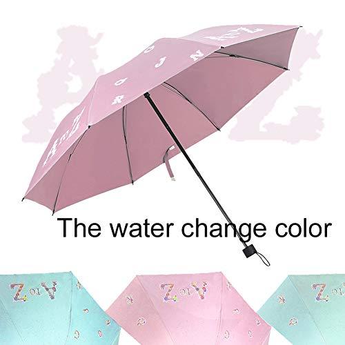 XdiseD9Xsmao Delicate Durable Water Farbwechsel Winddicht Triple Folding 8 Rippen Regenschirm Englisch Brief Regen Sonnenschirm Rosa