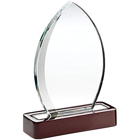 Claro Cristal trofeo placa–Ellipse con destellos de plata y base de madera, 7.25
