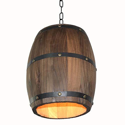 Decke Anhänger-beleuchtung (Godyluck Kreative Retro Distinctive Holz Weinfass Hängeleuchte Decke Anhänger Dekoration Lampe Beleuchtung Bar Restaurant Cafe Licht)