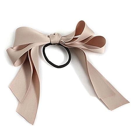 HuaYang Korean Fashion Girl's Bowknot Hair Band Satin Ribbon Bow Ponytail Holder Scrunchie(Carnation)