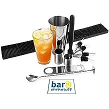 Bar@Drinkstuff - Gran boston cocktail shaker establecidos por | contiene vidrio, mezcla muddler, cuchara, colador de coctel, barra cuchilla, estera de la barra de goma, medidas de 25ml y 50ml y 4 x vertedores & tin coctelera boston profesional | kit cóctel principiantes