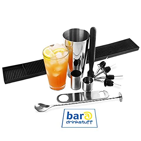Large Boston Cocktail Shaker Set by bar@drinkstuff | Contains Professional Boston Cocktail Shaker Tin & Glass, Mixing Spoon, Muddler, Cocktail Strainer, Bar Blade, Rubber Bar Mat, 25ml & 50ml Measures & 4 x Pourers | Beginners Cocktail Kit