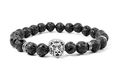 Treend24 - Pulsera de piedras preciosas con diseño de león y piedra volcánica plateada, unisex, estilo surfero