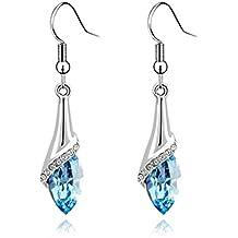 9bec60c7524c Pendiente de las mujeres de cristal gota de agua gancho de largo cuelgan  auriculares earbob accesorios