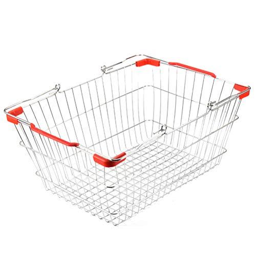 TOPBATHY Supermarkt Einkaufskorb aus Metall Shopping Basket Einkaufkorb Storage Baskets Küchenkorb mit Griff 36x24.5x18.1cm (Rot)