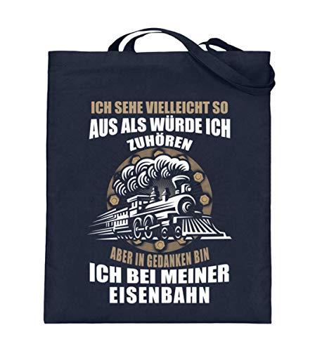 Lokomotive Shirt · Geschenk für Eisenbahn-Fans · Zug · Züge · Spruch: In Gedanken bin ich - Jutebeutel (mit langen Henkeln) -38cm-42cm-Deep Blue