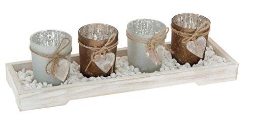 Eliware 5 Teiliger Teelichterhalter mit Holzbrett und Kleinen Steinen | Inkl. 4 Teelichtern