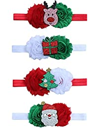 Toyvian Diademas de Flor de Navidad para Bebé Niñas Diadema con Lazo Accesorios para Cabello de Navidad 4 Piezas