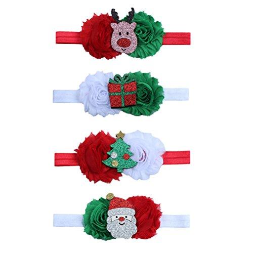 (Tinksky Baby Weihnachten Bowknot Stirnband Glitter Haarband Kopfschmuck für Kinder Mädchen Kleinkind Weihnachten Cosplay Kostüm Party Haar Accessorie Band, Packung mit 4 (rot, weiß))