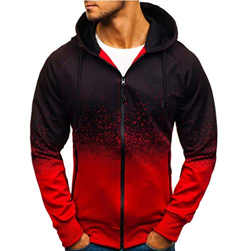 SUNFANY Winterjacke Mantel Jacke Herren Herbst Winter Packwork Print Sweatshirt Top Hosen Sets Sport Anzug Trainingsanzug.M - 3XL(rot,XL) -