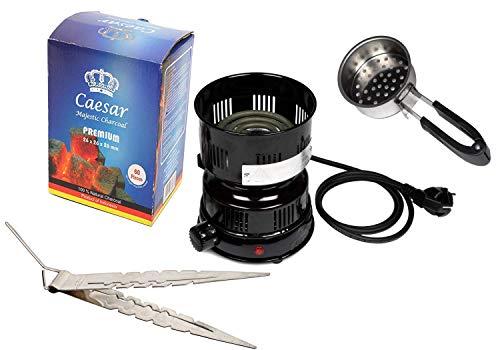 Grillen Kit (Caesar Set - 600W Kohleanzünder (02), Naturkohle 1kg (2,6cm), Zange für Kohle I Für Shisha Wasserpfeifen Komplettset)