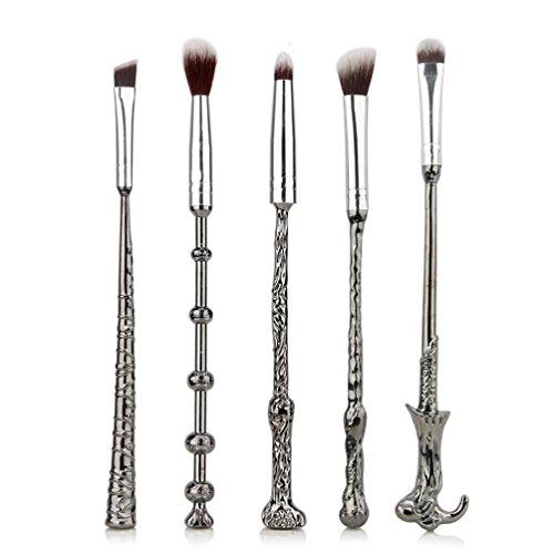 Lot de 5 pinceaux de maquillage en métal de Fashion Base® - pour paupières, nez, sourcils