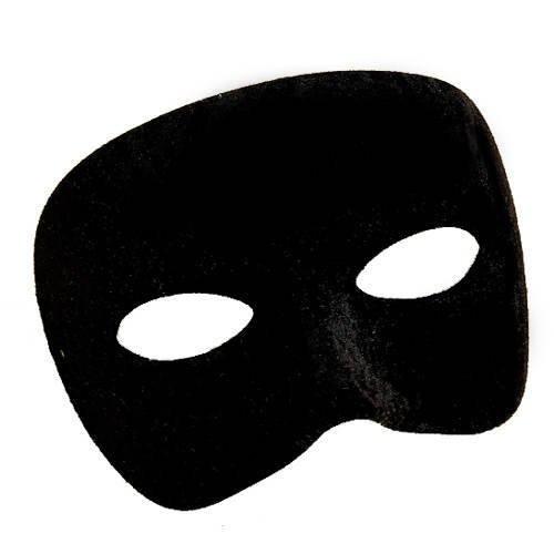 Maske halbes Gesicht aus Stoff, schwarz -