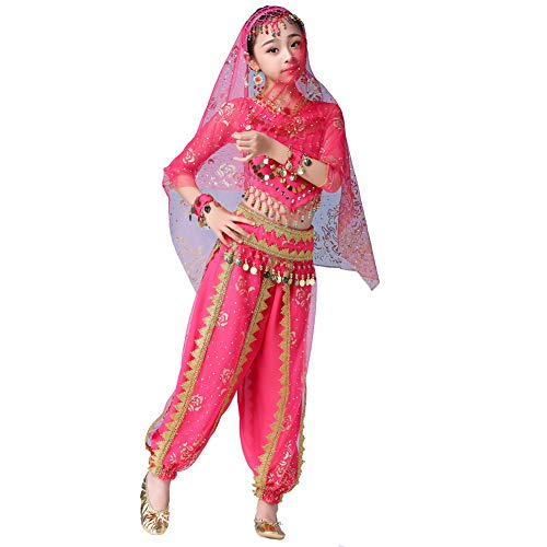 Byjia Kinder Bauchtanz Kostüme, Party Cosplay Indien Kleidung Halloween Sets,Pink,M