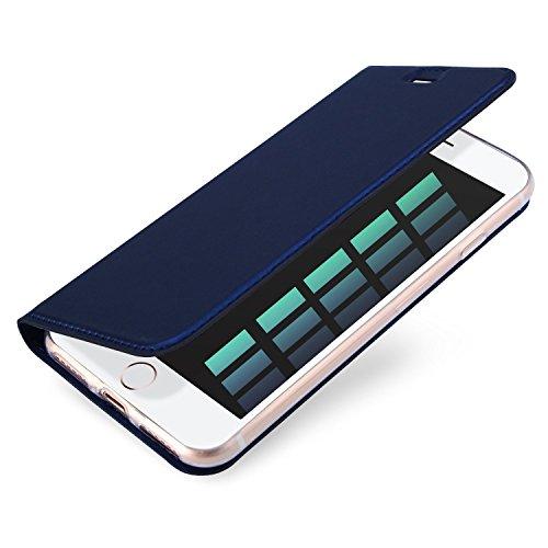 iPhone 8 Hülle, iPhone 7 Hülle, Eouine Bookstyle Flip Case Handy Schutzhülle stoßfest mit Stand-Funktion für Apple iPhone 8 / iPhone 7 4.7-inch Smartphone (Schwarz) Blau