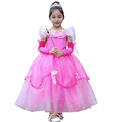 Prinzessin Kostüm Rosa Märchen - IWEMEK Mädchen Cosplay Kleid Die Schöne und das Biest Prinzessin Kostüm Kinder Off Schulter Karneval Bell Partykleid Märchen Geburtstag Halloween Faschingskostüm Festkleid Fancy Dress Up Rosa 2-3