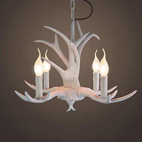 Geweih-kronleuchter Licht (European-style Weiß Retro American-Stil Kreative Lichter Kleine Geweihe Kronleuchter Vier Lichter)